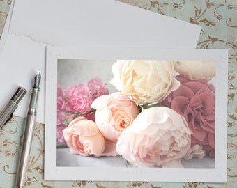 Rose Photo Notecard - Romantic Floral Photography, Note Card, Stationery, Blank Notecard