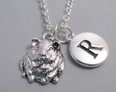 Hamster, Guinea Pig Charm Necklace, Hamster Keychain,Silver Plated Charm, Initial Charm, Engraved Initial, Personalized, Monogram