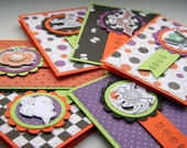 Boo! Halloween Mini Notecards - Set of Six - Thank You - Invitation - Treat Bags - Gift Tag