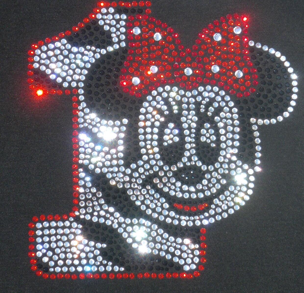 Iron On Rhinestone Transfer Minnie Mouse 1st Birthday Zebra