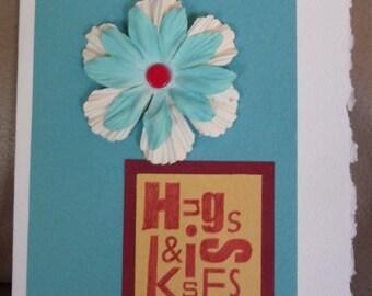 Handmade Card - Hugs & Kisses - Silk Flower Accents - FREE Shipping