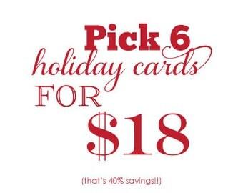 Letterpress Holiday Card  Christmas Card Set - pick 6 value pack