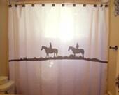 Trail Rider Horse Shower Curtain Cowboy Cowgirl Western theme bathroom decor kids bath hat boots
