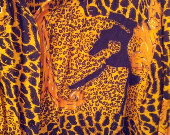 beaded leopard print shirt blouse top animal print 1980s 80s eighties
