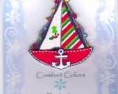 Bay of Lights, Christmas Sailboat, Red with Anchor Fabric Pin