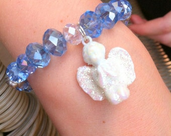 Little girls stretch charm bracelet with sparkly glitter angel and baby blue crystals toddler child kids first holy communion confirmation
