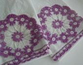 Lilac Crocheted Pillowcases / 1940's Cottage Chic