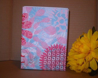 SALE Coptic Stitch Floral Pink and Blue Blank Journal