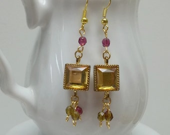 Gold Framed Square Bezel Gold Glass Dangle Earrings,gold crystals, Bridal, Wedding, Bridesmaids Gift, Mothers day Gift, Birthday Gift