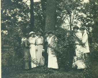 Young Edwardian Women Standing in the Park Talking in the Trees 1912 Summer Antique Vintage Black and White Photo Photograph