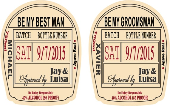 Groomsman proposal label custom groomsman liquor labels for Groomsman liquor bottle labels