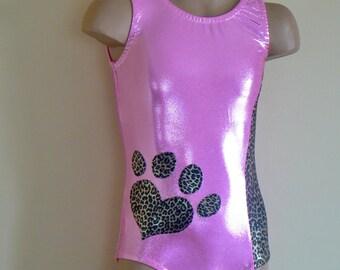 Gymnastic/Dance Leotard Pink Mystique/ Leopard Print -  Size 2t - Girls 10