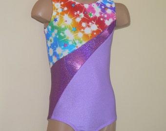 Gymnastics Dance Light Purple with Star Print Insert. Toddlers Girls Gymnastics Leotard. Size 2T - Girls 10