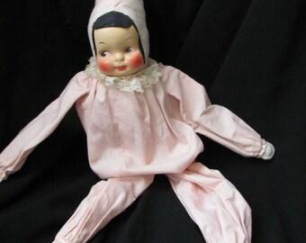 Vintage Pink Cloth Clown Elf Pixie Bed Doll