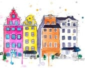 A Little Slice of Stockholm, print from original watercolor travel illustration by Jessica Durrant