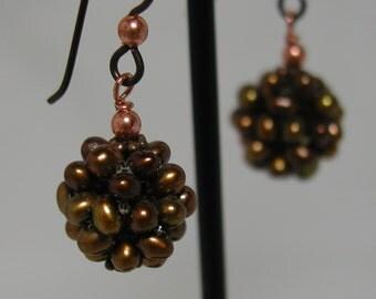Copper Pearl Niobium Earrings Hypoallergenic Hooks Beaded Cluster