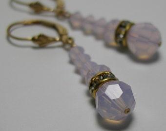 Pink Opal Rhinestone Drop Earrings 14k Gold Filled Lever Back Ear Wires Swarovski Crystal Beads