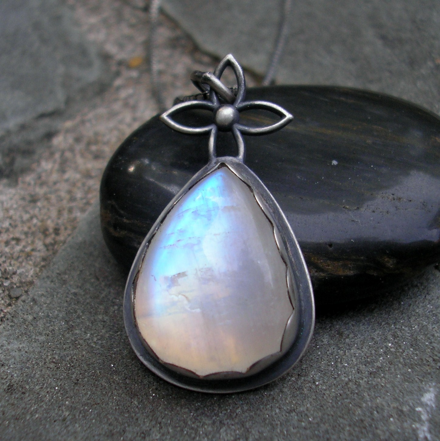 Moonstone Necklace Blue Moonstone Sterling Silver Pendant