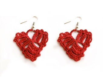 Crocheted Pattern, Heart Earrings Pattern, Tutorial Crochet Pattern, Dangle Earrings -27
