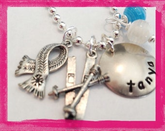 Personalized Snow Ski Necklace,Hand Stamped Jewelry, Custom Necklace for Children