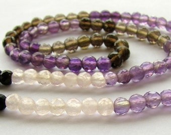 4mm Multi Semi Precious Micro Faceted Round Beads - 15 inch full strand (3m6)
