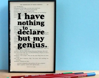 SECONDS STOCK SALE - Oscar Wilde - 'nothing to declare but my genius' - Funny Quote on upcycled book page