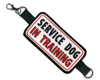 SERVICE DOG In Training Rectangle Patch Velcro Double Sided Leash Wrap (Choose Size with clip or without clip accessory)