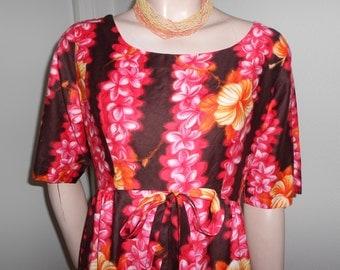 Vintage Cotton Hawaiian Maxidress/Black w/Pink/Orange Flowers - Size M