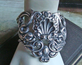 Sterling Silver Ox, Bracelet Cuff Or Jewelry Supply, Sea Creatures, Nautical, Fantasy, Victorian, Handmade, USA, Rings Added, Just Add Chain