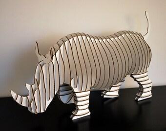 Rambling Robbie- Giant Full Body Rhino - White