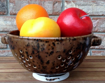 Handcrafted  Ceramic Hockenberry S'Mores Ceramic Berry Bowl and Pasta Colander