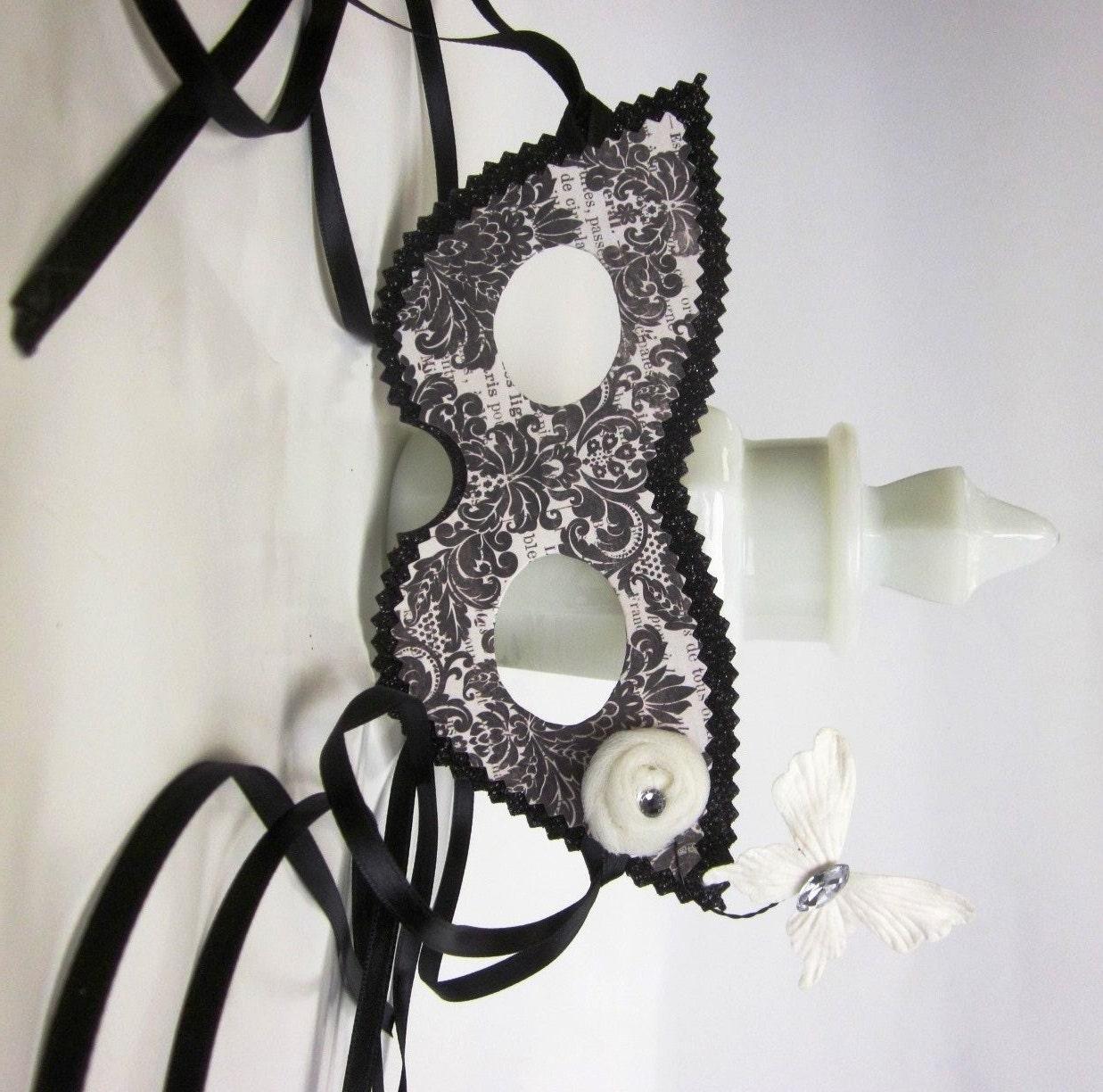 Black And White Damask Masquerade Ball Mask With Jeweled