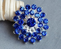 5 Dark Royal Blue Rhinestone Button Crystal Embellishment Wedding Brooch Bouquet Cake Hair Comb Shoe Clip BT321