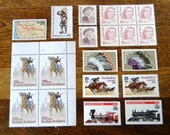 Cowboys and Indians - Instant Collection of 15+ Unused Vintage Stamps