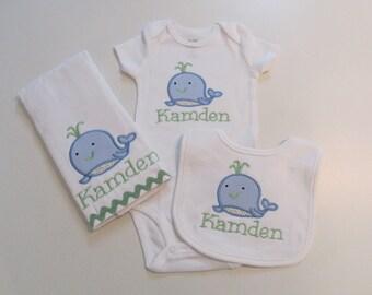 Baby Boy Bib, Burp Cloth and Onesie Gift Set, Baby Blue Gingham, Cute Whale applique, Monogram