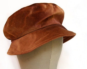 "Velvety Rust Colored Cap / Fit 7"" in Diameter / 100% Cotton Hat / Shimmery Amber Hat"