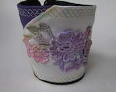 Satin and Purple Wrist CUFF - hand dyed Venice lace applique - Fabric cuff bracelet