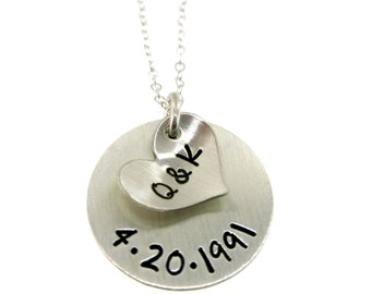 Our Initials and Anniversary Date - Hand Stamped Jewelry