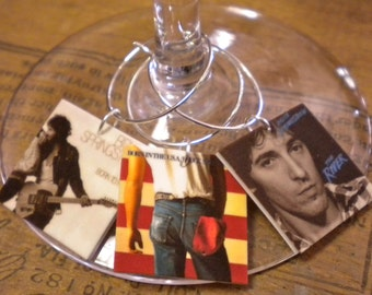 Bruce Springsteen Album Cover Wine Charms for the Music Lover or CUSTOM order Any Band Album Covers Fast Ship Great Best Friend Gift