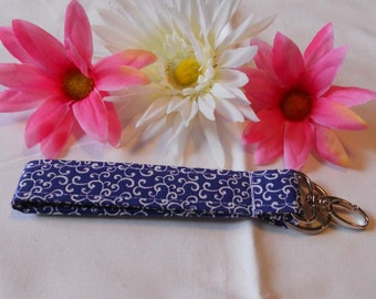 Keychain Wristlet - Blue with White Swirls