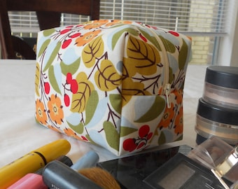 Makeup Bag - Orange Flowers with Leaves and Berries