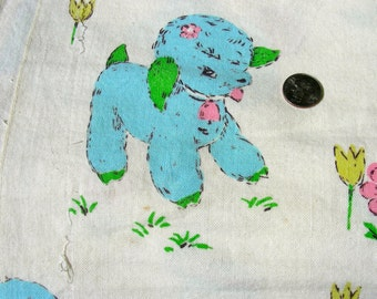 Vintage Cotton Novelty Fabric   - Adorable Baby Nursery Animals & Big Eyes Children  - 35 x 31