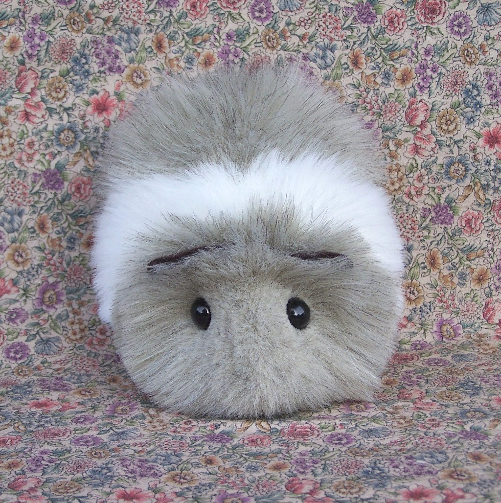 Gray And White Toy Guinea Pig Handmade Plushie