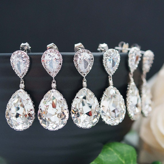 10% OFF SET of 3,4,5 Wedding Jewelry Bridesmaid Jewelry Bridal Earrings Bridesmaid EarringsSwarovski Crystal Tear drops Earrings