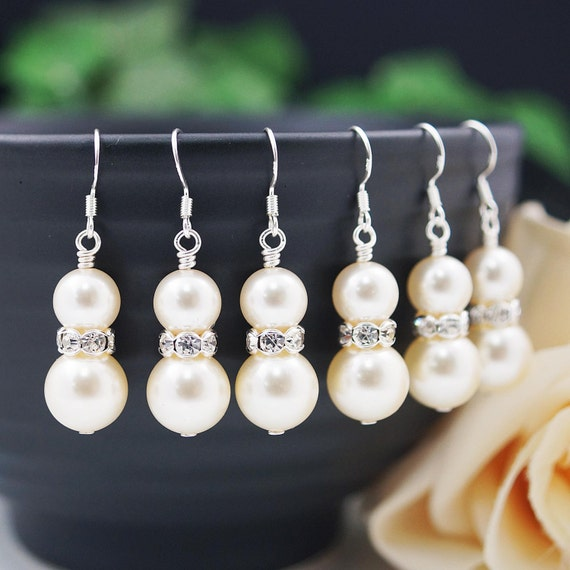 Wedding Bridal Earrings Bridesmaid Gifts Bridesmaid Earrings Swarovski Pearls with rhinestone rondelles dangle earrings
