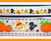 25 yards 3/8 Fall SCARECROW HARVEST Thanksgiving pumpkins bird Ribbon leaves on White Grosgrain Hair Bows Scrap booking Sewing