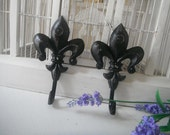 coat hooks French country  jewelry hange black distressed hooks shabby chic fleur de lys hooks r cottage chic wall hooks pair hook