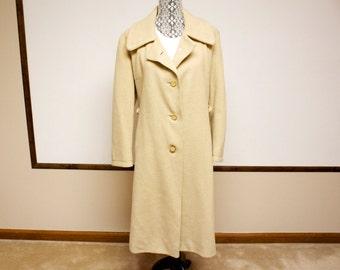 Vintage 1960s Beige Womens Wool A-line Coat size large