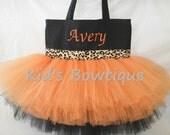 Monogrammed Orange and Black Leopard Cheetah Ribbon Trim Tutu Tote Bag