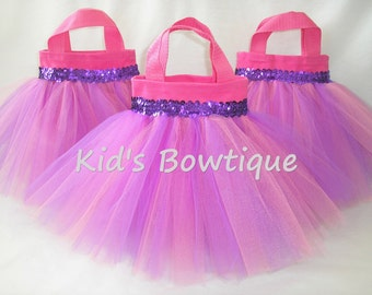 Set of 10 Pink and Purple Mixed Tulle Tutu Party Favor Tutu Bags - Party Decorations